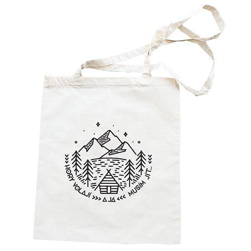 Plátěná taška s potiskem 42 x 38 cm - Hory volají