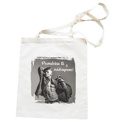 Plátěná taška s potiskem - Pomůžu ti s nákupem