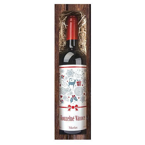 Vánoční víno 0,75 l - Kouzelné Vánoce - Merlot