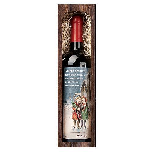 Vánoční víno 0,75 l - Veselé vánoce - Merlot