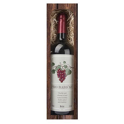 Dárkové červené víno 0,75 l pro babičku - Merlot