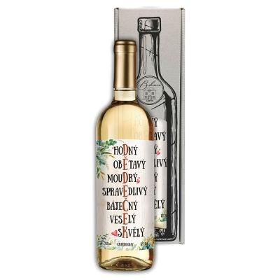 Dárkové bílé víno 0,75 l pro dědečka - Chardonnay