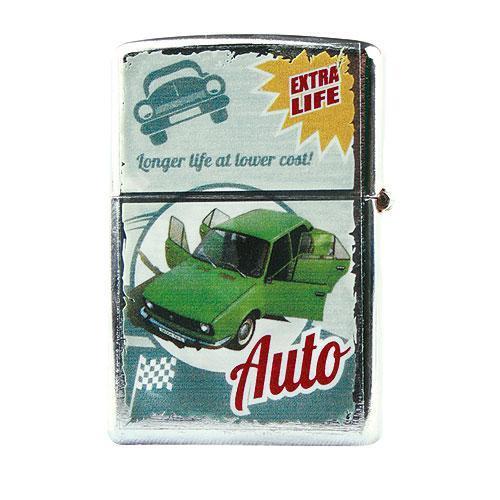 Kovový retro benzínový zapalovač - Zelené auto