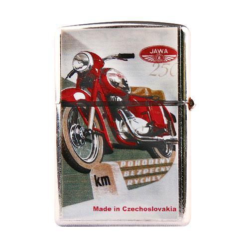 Kovový retro benzínový zapalovač - Motorka červená