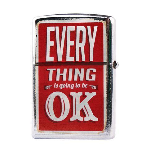 Kovový retro benzínový zapalovač - Everything Is OK