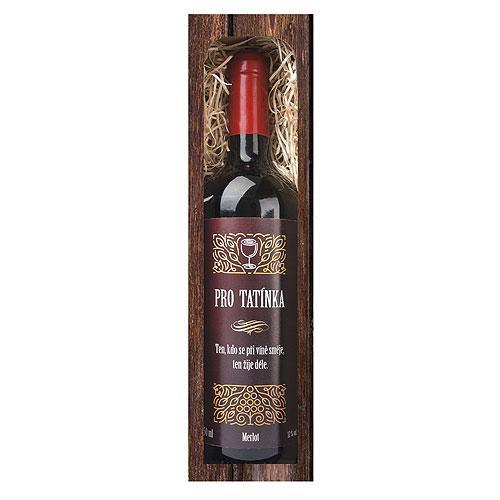 Dárkové červené víno 0,75 l pro tatínka - Merlot