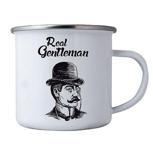 Plechový smaltový hrnek pro muže - Gentleman