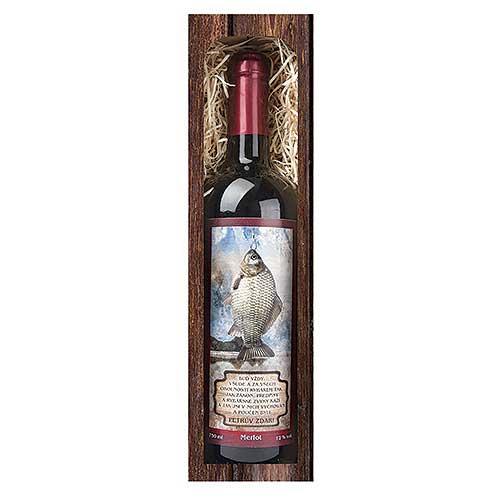 Dárkové červené víno 0,75 l pro rybáře - Petrův zdar
