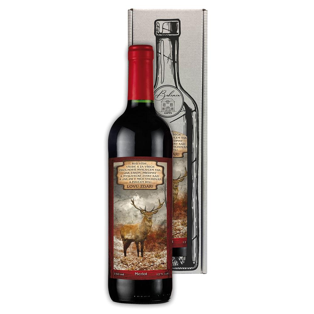 Dárkové červené víno 0,75 l pro myslivce - Lovu zdar