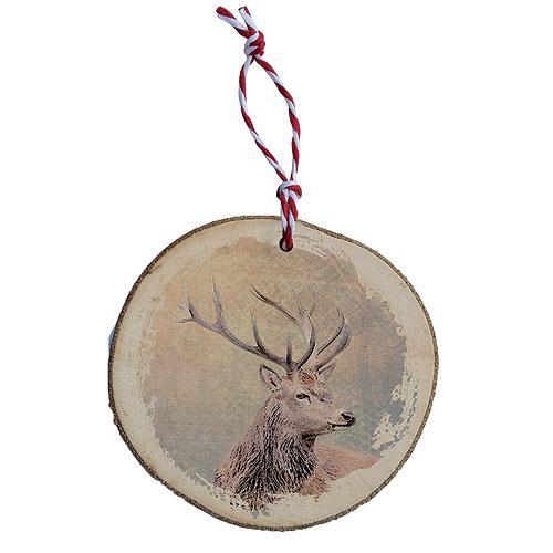 Dřevěná vánoční ozdoba - Jelen barevný