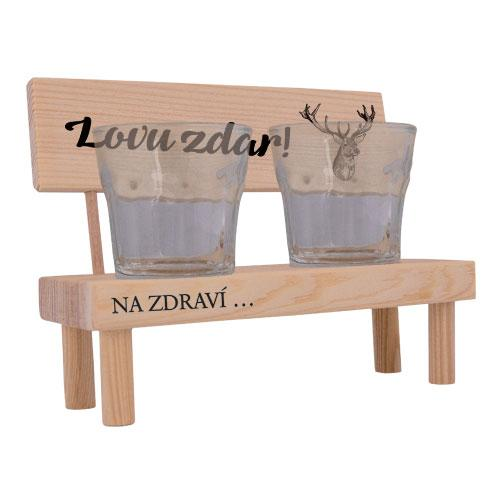 Dřevěná lavička s pohárky pro myslivce - Lovu zdar