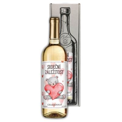 Dárkové bílé víno 0,75 l Sauvignon Blanc - Srdeční záležitost