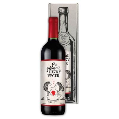 Dárkové červené víno 0,75 l Merlot - Pro zatraceně hezký večer