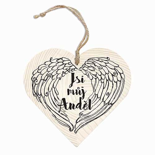 Dekorační dřevěné srdce 12 cm – Jsi můj anděl