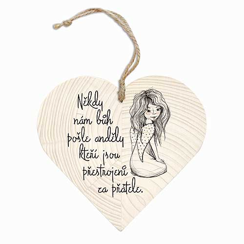 Dekorační dřevěné srdce 12 cm – Andělé a přátelé