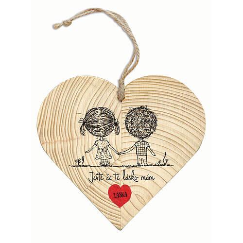 Dřevěné srdce pro zamilované 12 cm - Láska