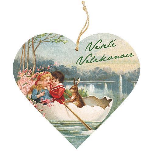 Dekorativní dřevěné srdce 13 cm Velikonoce - Děti
