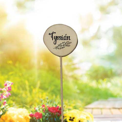 Dřevěné zapichovátko k bylinkám - Tymián