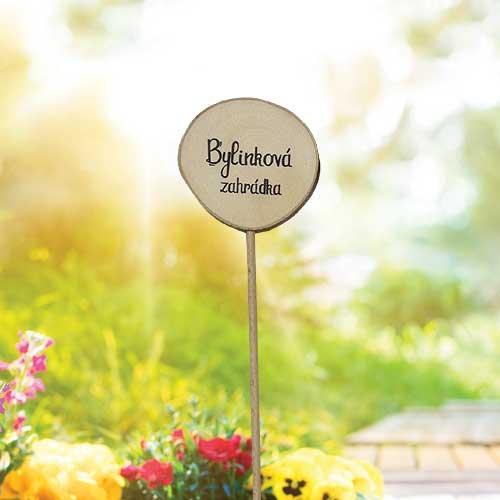 Dřevěné zapichovátko k bylinkám - Zahrada