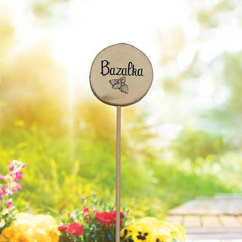 Dřevěné zapichovátko k bylinkám - Bazalka