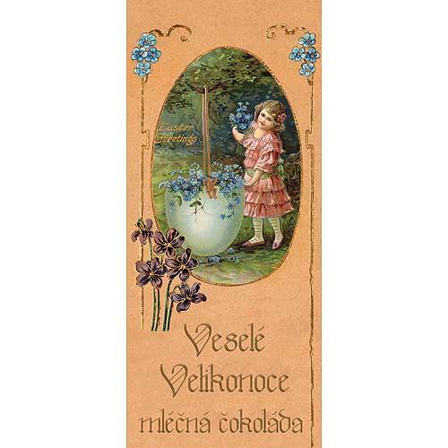 Mléčná čokoláda 100 g - Velikonoce - Dívka s květy