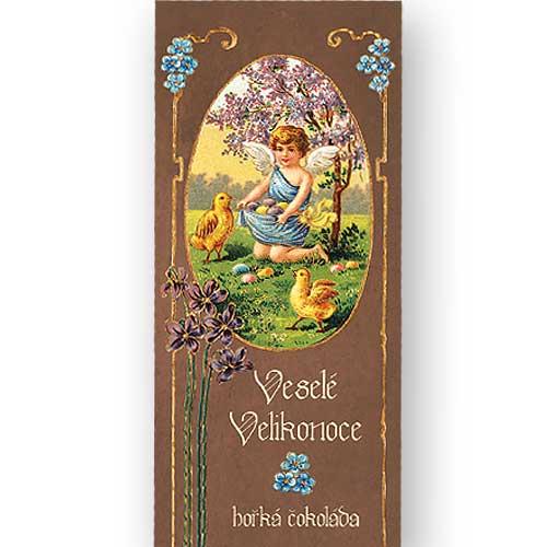 Hořká čokoláda 100 g - Velikonoce - Anděl s kuřátky