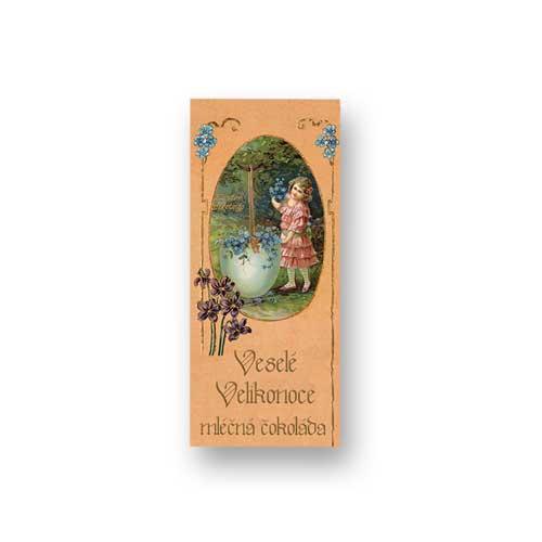 Mléčná čokoláda 10 g - Velikonoce - Holčička a modré květy